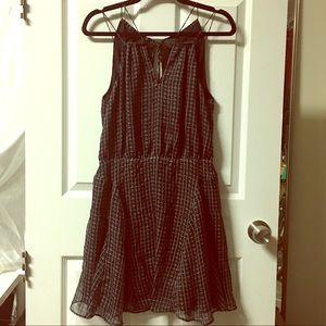 spaghetti strap black anthropologie dress